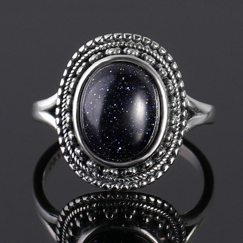 Anillos de piedras preciosas de piedra arenisca azul 925 anillos de plata esterlina para mujer, bandas de boda, regalo de aniversario, joyería fina