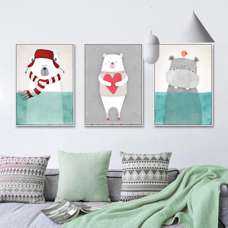 Мультяшные животные картина маслом холст художественный постер и фото настенные фотографии гостиной украшение домашний декор холст картина