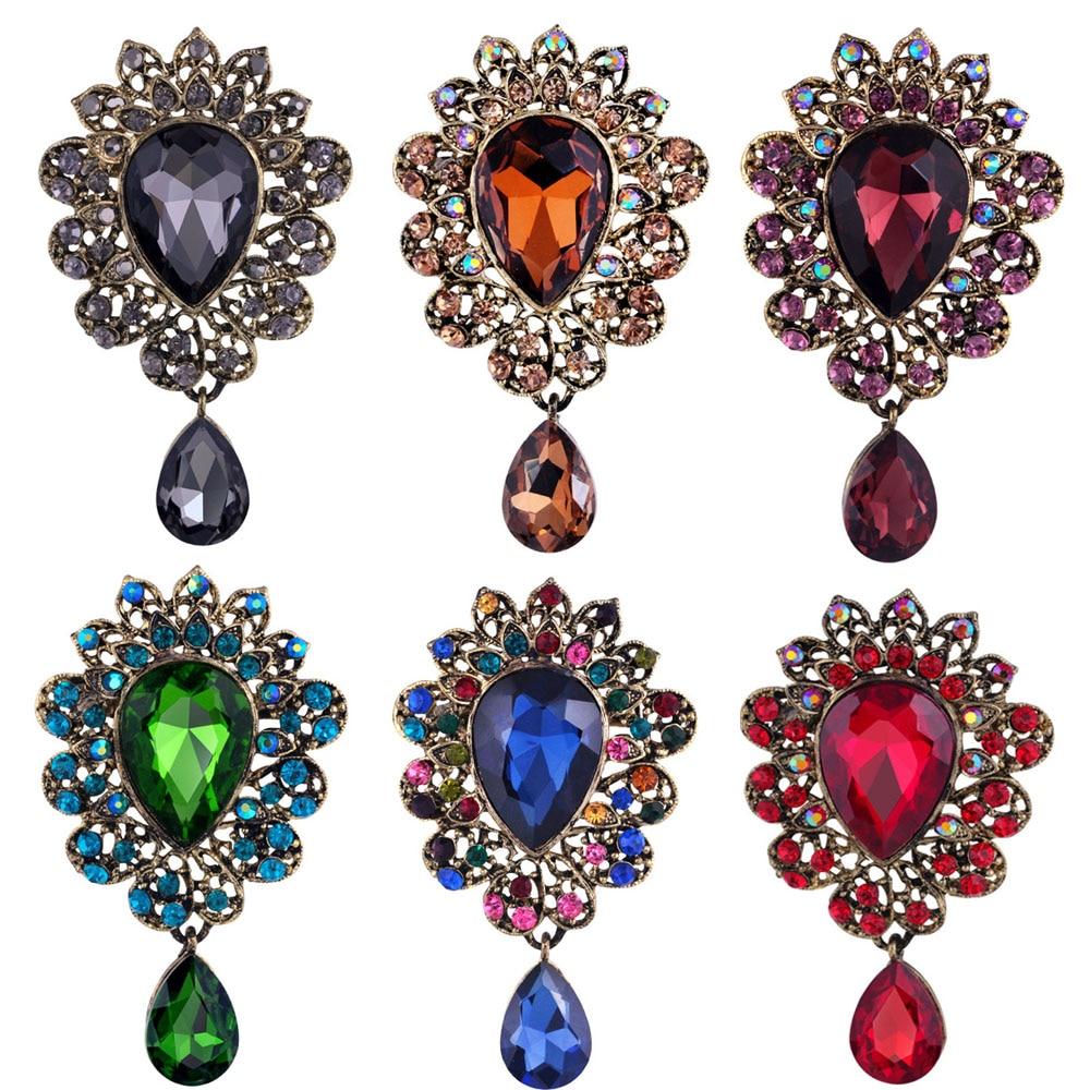 1 Pza de piedras de cristal con forma de gota de agua, broches grandes para mujer, joyería para mujer, broche de cristal rojo, Pin para regalos de joyería para boda