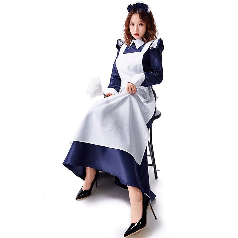Castelo feminino maid traje velho castelo vestido longo cafe atendente roupas tamanhos grandes