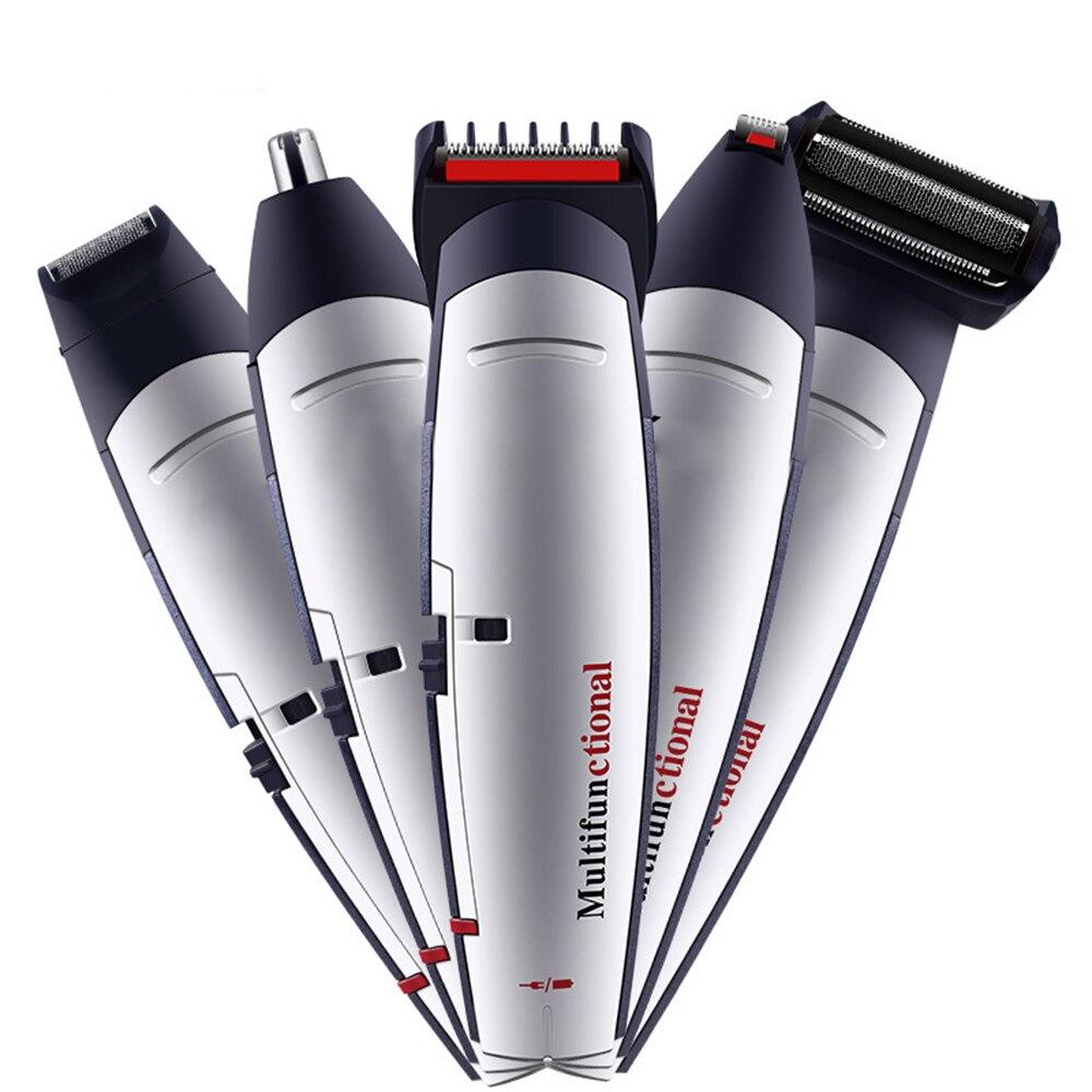 Nuevo recortador de barba 5 en 1 USB recargable, recortador de pelo, afeitadora corporal, recortador eléctrico, Kit de aseo, recortador de pelo para hombres