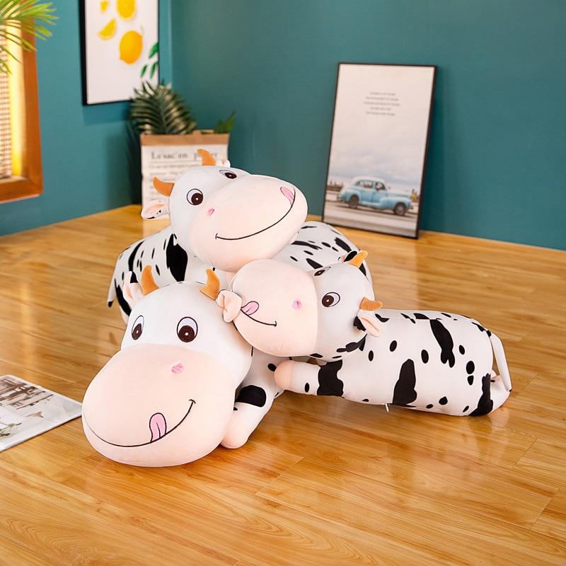 80-100 см Гигантский Размер, лежащая корова, мягкая плюшевая подушка для сна, мягкие милые животные, крупный рогатый скот, плюшевые игрушки для ...