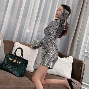 Корейское Горячее сексуальное женское блестящее мини-платье с высоким воротом и длинным рукавом, вечерние платья-карандаш с запахом, облег...