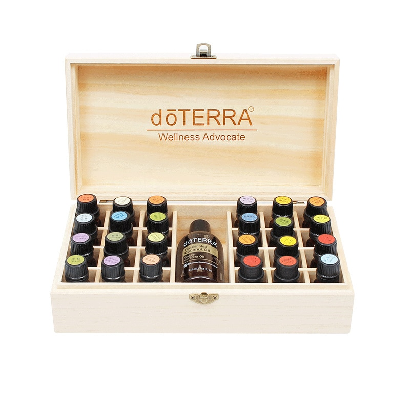 doTERRA Essential Oil Storage Wooden Box 25 Compartment 15ML 24+1 Display