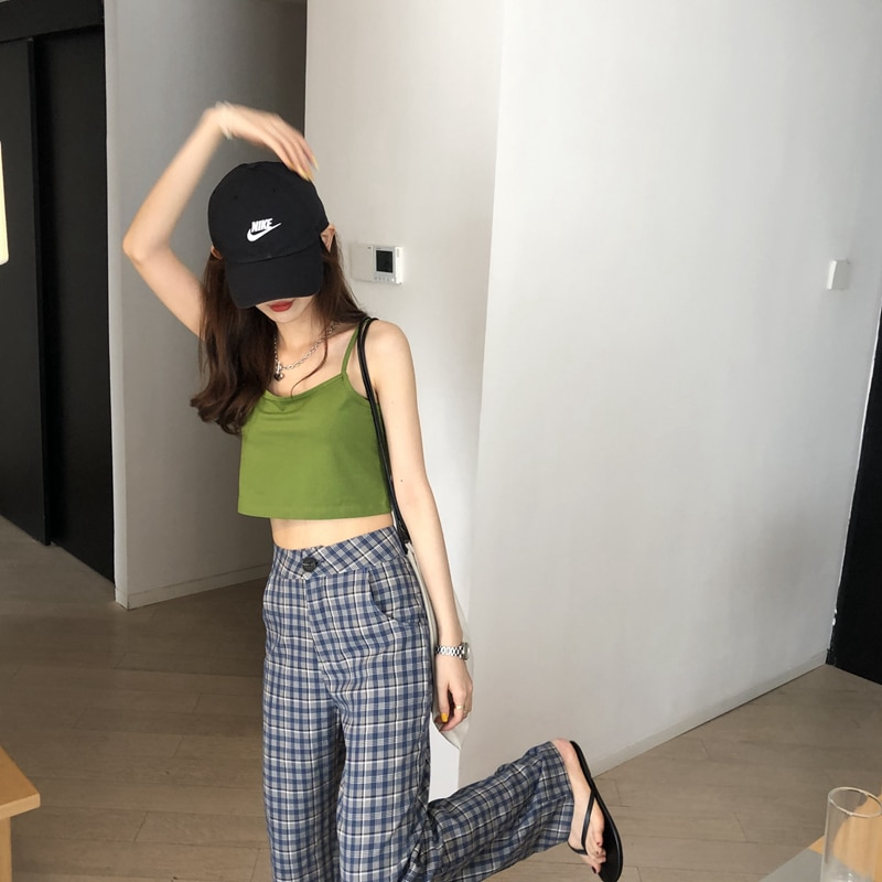 Wu 77 Minimalist Basic Style 5 Color Camisole Women's Outer Wear Korean Slim Fit Slim Fit Tube Top C