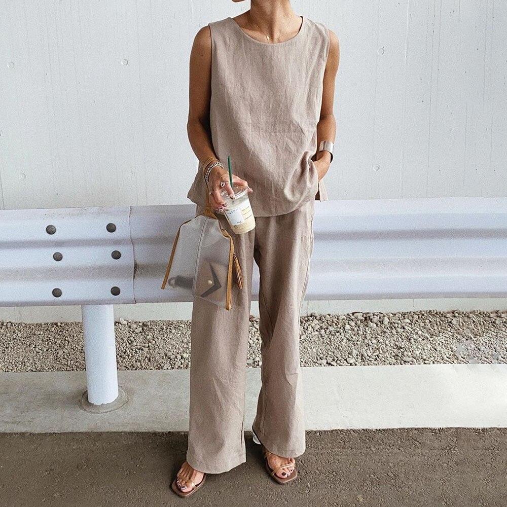 Women Clothes Set 2021 Two Piece Suit Plain Trousers Casual Slit Ladies Fashion Round Neck Straight