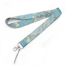 Van Gogh abricot téléphone portable lanière porte-clés créatif pince Badge accrocher corde personnalisable sangle de cou longes AL2382