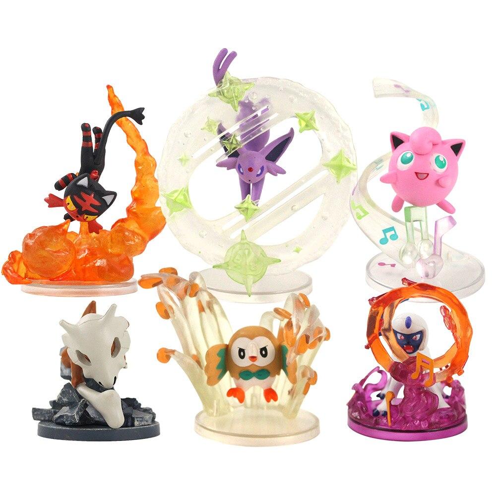 6 pçs/set Figuras Anime Dos Desenhos Animados de Animais Jigglypuff Rowlet Espeon Litten Absol Cubone PVC Modelo Brinquedos Presente de Aniversário para Crianças