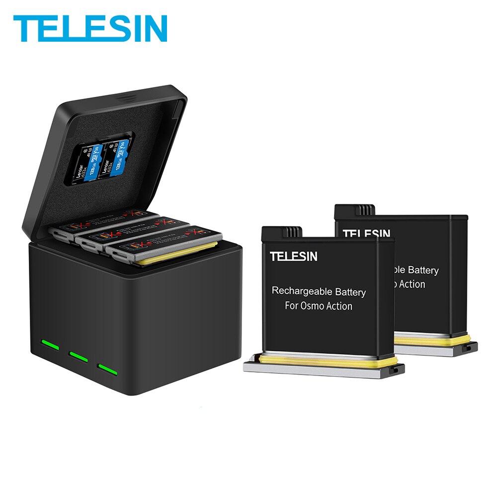 Телесин 2 шт Батарея + 3 слота Батарея Смарт Зарядное устройство 2 карты памяти коробка для хранения DJI Osmo экшн Камера аксессуары