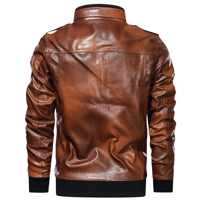 Men's Spring And Autumn Casual Fit Fashion Urban Hooded Jacket Men's Stand Collar Solid Color Zipper Faux Leather Jacket enlarge