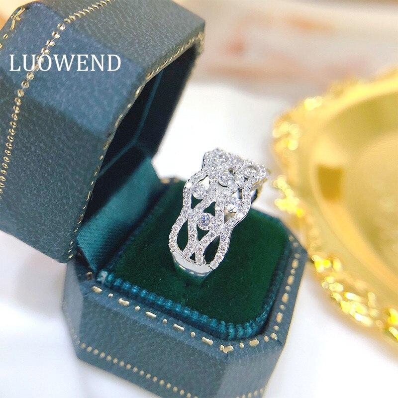 خواتم LUOWEND 100% من الذهب الأبيض الحقيقي 18K تدريبات صف الموضة من Anillos Mujer خواتم فاخرة من الماس الطبيعي الحقيقي 1.0ct للحفلات النسائية