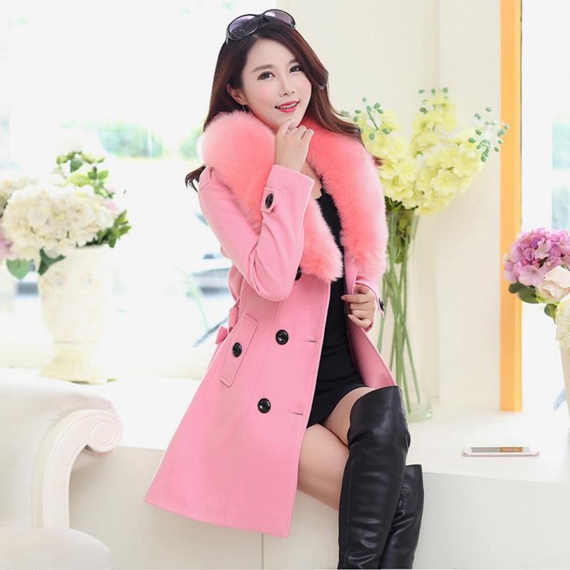 أزياء المرأة فو الفراء طوق الصلبة خندق معطف سيدة ضئيلة مزدوجة الصدر السترات الصوفية معطف الخريف الشتاء الإناث أبلى