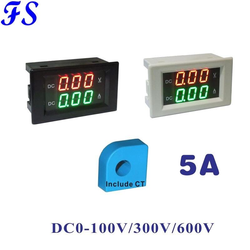 DC 5A Hall voltímetro amperímetro DC 0-100V 300V 600V LED Digital medidor de corriente de voltaje DC Ampere de Sensor Hall Volt Amp de