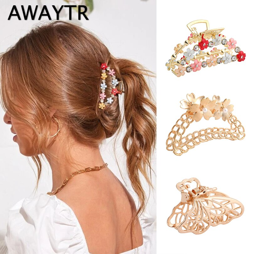 AWAYTR Women Geometric Hair Claw Clamps Metal Crab Shape Claws Clip Alloy Hairpins Large Size Accessories