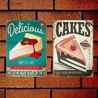 PixDecor Cupcake gateaux sucres Dessert Style 12 Vintage metal signe 8  x 12   2 pieces  decor a la maison retro metal Vintage signe