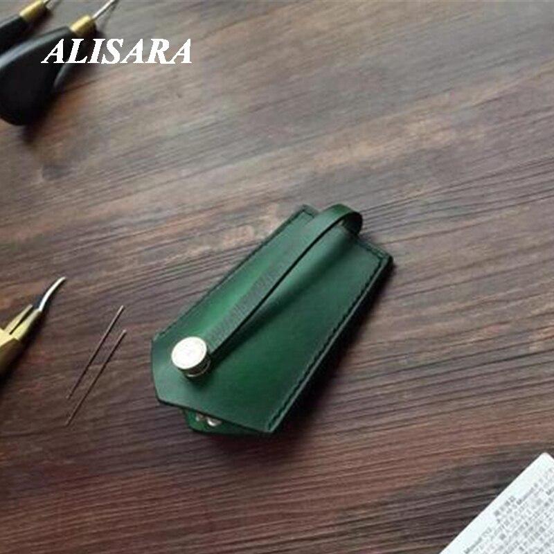 حافظة مفاتيح من الجلد الأصلي محفظة حامل مفتاح السيارة ، سيارة حقيبة مفاتيح عالمية خمر الفن تفعل النمط القديم بسيط ومحكم