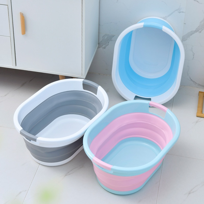Folding Plastic Bucket Home Bathroom Products Large Laundry Basket Clothes Storage Bucket Camping Outdoor Travel Portable Bucket enlarge