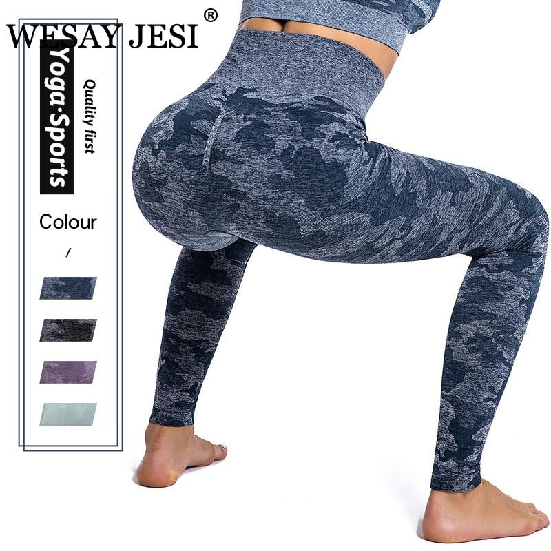 WESAY JESI Women's High Waisted Yoga Pants Sport Fitness Camouflage Leggings Activewear Gym Elastic Tights Seamless Leggings