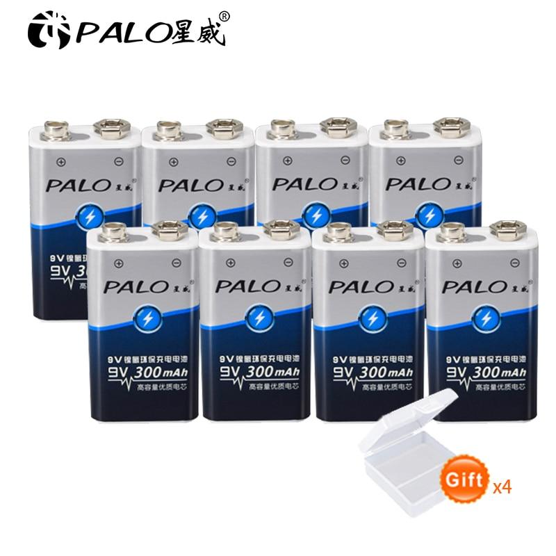 8 Uds 300 mAh PALO 9 V 6F22 9 V Ni-Mh 9 voltios Súper pesado batería de servicio para linterna, Radio, cámara, juguetes, etc. Baterías recargables