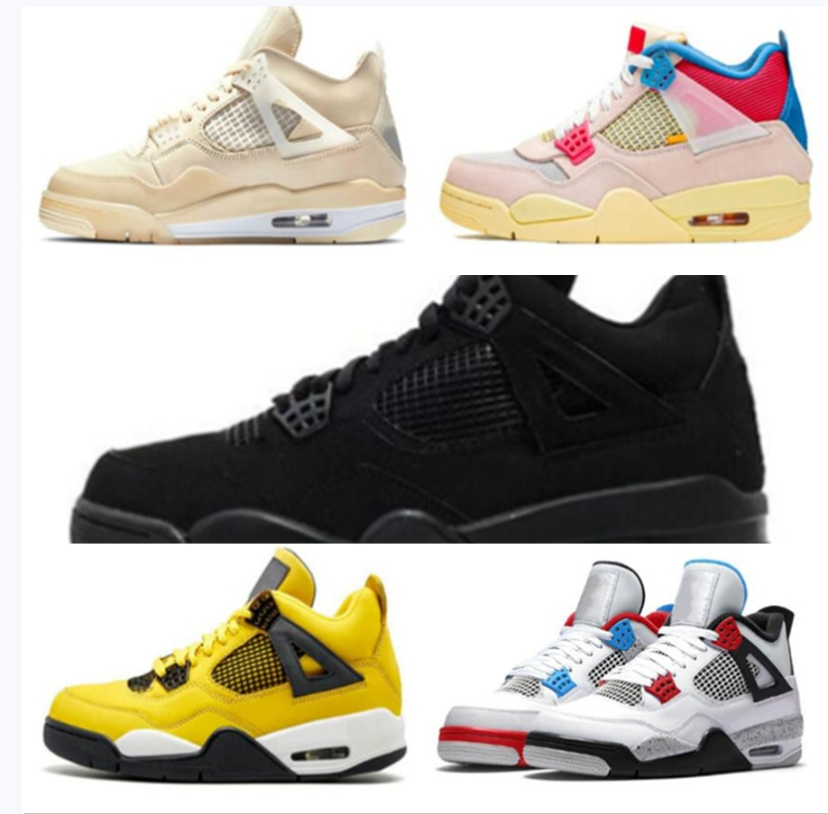 New 4s Black Cat Basketball Shoes 4 Union What The Withe Cement Men Women Sneakers Bred Sports Train