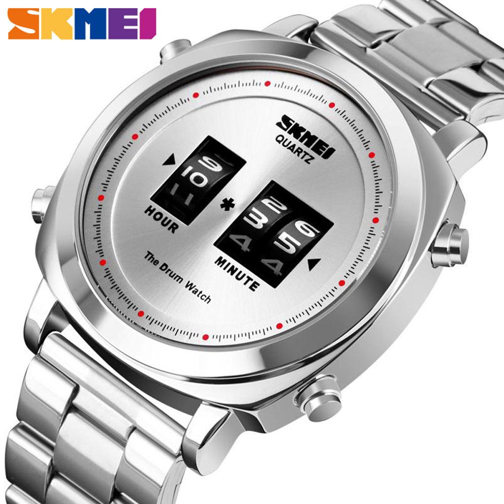 SKMEI موضة ساعة كوارتز رجالية براءة اختراع تصميم ساعات المعصم مقاوم للماء بسيط طبل ساعة الفولاذ المقاوم للصدأ relogio masculino 1531