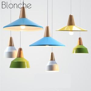 Modern Pendant Light Colorful Wood Aluminum Hanging Lamp Indoor Restaurant Bar Cafe Living Room Home Decor Lighting Fixtures E27