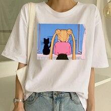 Harajuku Short Sleeve Fun Ulzzang T-Shirt Cute Cat Shirt Cartoon Top Tees Female Sailor Moon T Shirt