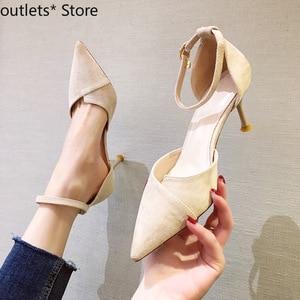 Summer New Women's Shoes High Heels Suede Sandals Women Stitching Fine Heel Hollow High Heels Fashion Casual