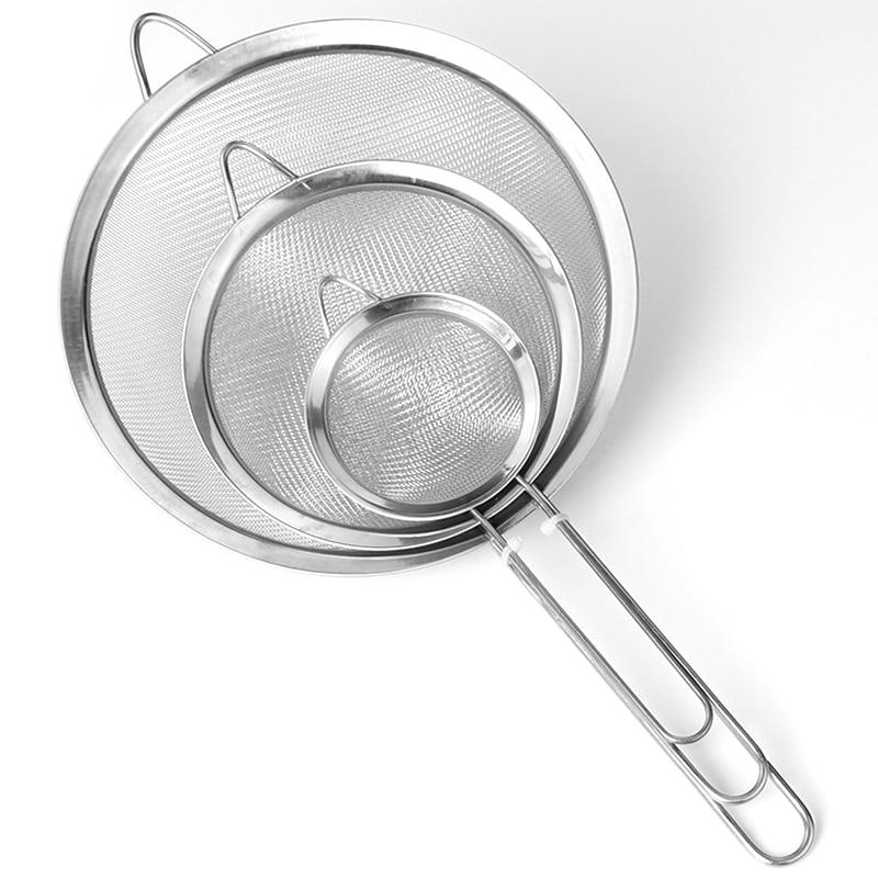Flour Sieve Colander Screen Mesh Handheld Tea Strainer Oil Stainless Steel Kitchen Sieves  сито для муки