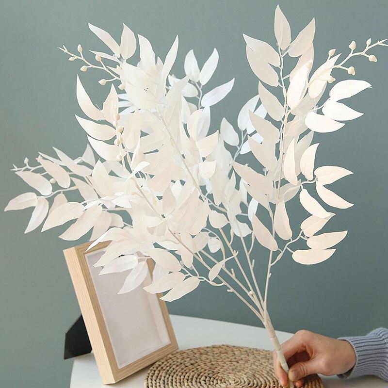 Ramo Artificial de plantas artificiales de mimbre, hojas verdes o blancas, para decoración de hogar, bodas, fiestas en el bosque