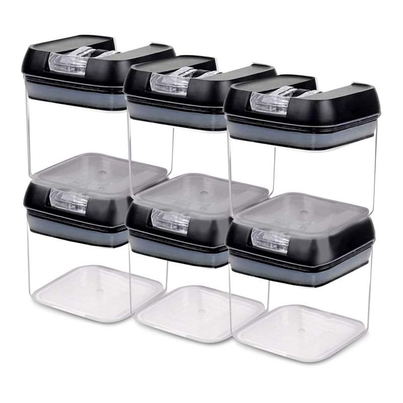 حاويات تخزين الطعام محكم ، حاويات الحبوب البلاستيكية مع أغطية قفل سهل الاستخدام لتنظيم مخزن المطبخ والتخزين