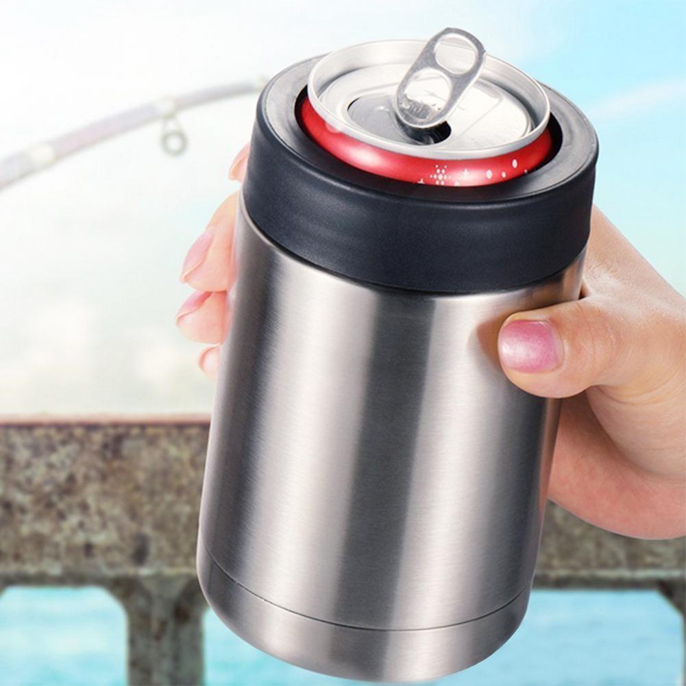 Frasco de vacío de doble pared portátil de 12oz, botella de cerveza aislada, recipiente de soporte de lata frío, taza fácil de operar, sellado de acero inoxidable