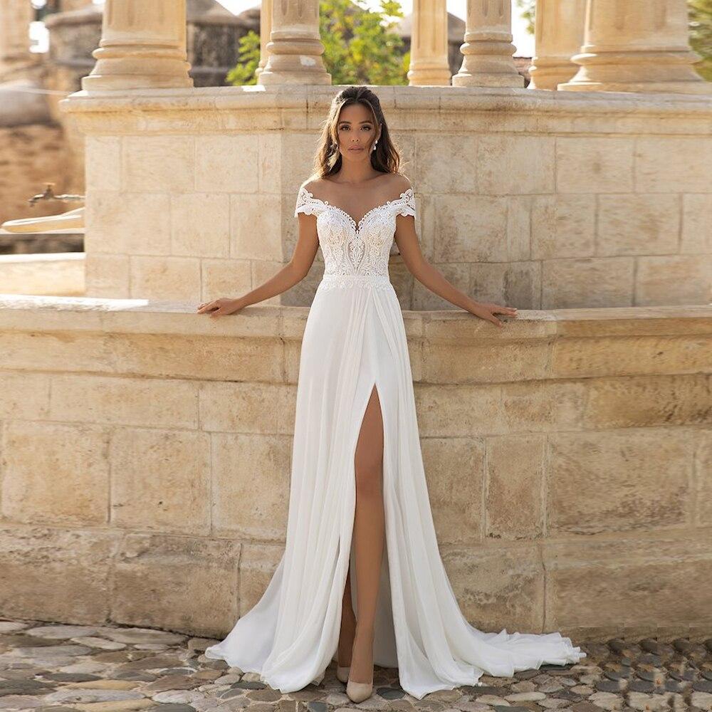 Promo New Off-The Shoulder Boho Beach Wedding Dress Front High Split Chiffon Floor Length Bridal Gown Свадебное платье