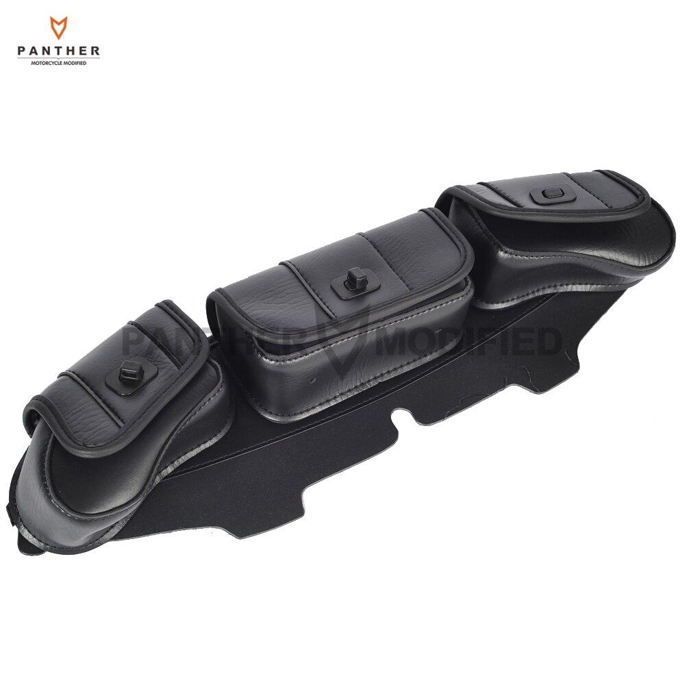 Bolso de parabrisas negro para motocicleta, asiento de 3 bolsillos, funda para Harley Davidson Touring 1996-2013