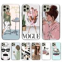 vogue princess girls female coffee luxury soft phone case for iphone 11pro 12promax 8 7 6 6splus x xs max 5 5s se xr fundas capa