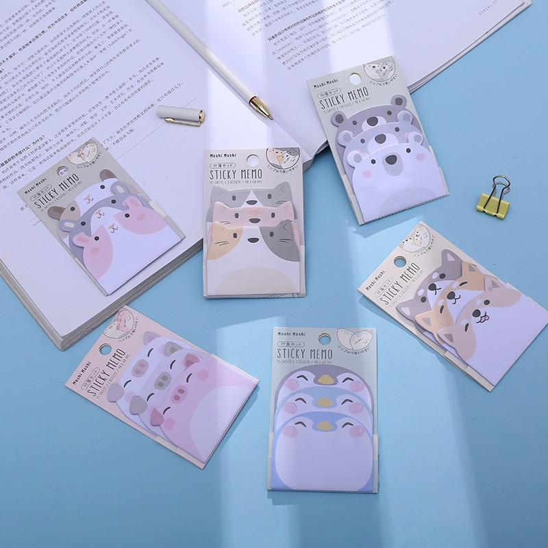 Cartoon Sticky Notes Set Animal Stacking Combination Student Paper Notepad Office Cute Stationery Memo Pad School Supplies cute lucky cat animal mini planner sticker notepad sticky notes school supplies material sticky memo agenda notes for student
