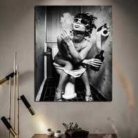nordic poster toilet smoking girl canvas painting prints living room home decoration modern wall art oil painting poster picture