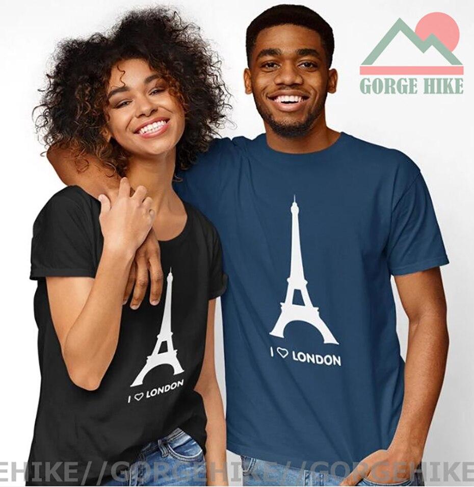 GorgeHike-Camiseta con estampado de la Torre Eiffel para hombre y mujer, camisa...