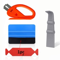 FOSHIO 4PCS Carbon Fiber Vinyl Car Wrap Film Squeegee Scraper Car Sticker Installation Kit Cutter Auto Car Styling Accessories
