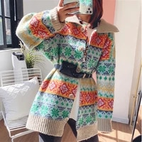 autumn winter thick cashmere sweater women button up cardigan coat vintage ethnic turn down collar long knit cardigan plus size