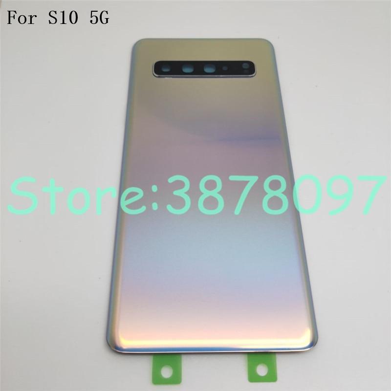 Nova Tampa Traseira Da Bateria para Samsung Galaxy S10 G977 G977F 5G versão Habitação Porta Traseira Painel de Vidro Parte + lente da câmera