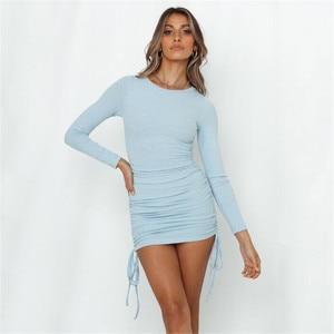 Women Fashion Long Sleeve Ruched Dress Fall Spring Clubwear Dresses Fashion Skinny Solid Color Drawstring Dress for Women Ladies