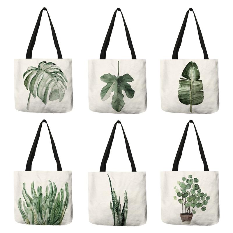 Модная женская сумочка, экологически чистые тоуты из льна с принтом Тропических Зеленых банановых листьев и растений, практичные большие рабочие мешки для покупок