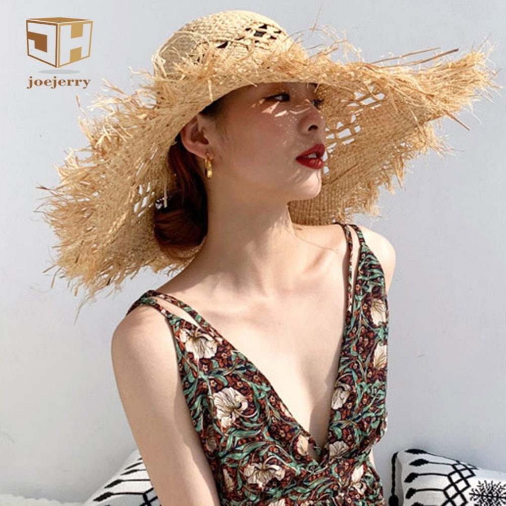Gran ala ancha sombrero de ala de paja para mujer playa Crochet rafia sombrero hecho a mano señora Sun gorra de protección UV
