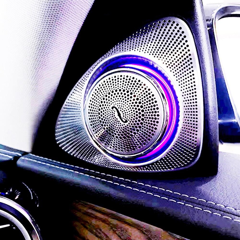 Auto Tweeter Led Light Voor Mercedes Benz W222 S Klasse 64 Kleuren Auto Links Rechts Deur Side Roterende Treble Speakers sfeerverlichting