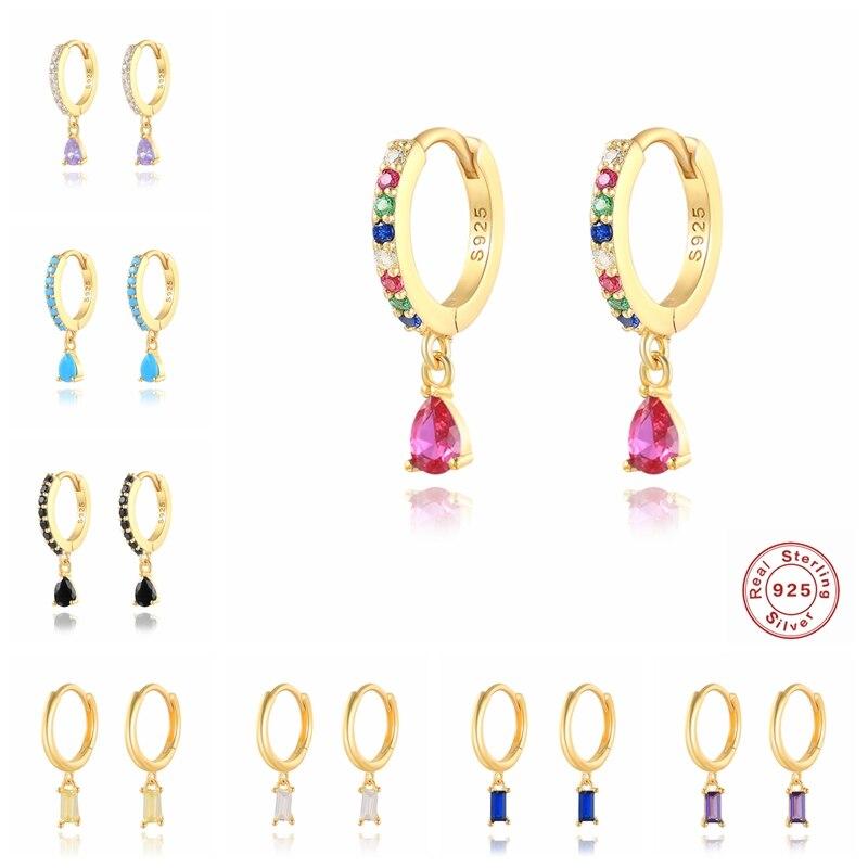 925 Sterling Silver Sparking Rainbow Zircon Korean Earring Hoops Earring For Lovers' Woman Girl Pendientes Brincos Fine Jewelry