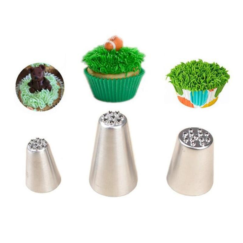 VOGVIGO 1/3 uds, boquillas para crema de glaseado de hierba, pastelería de acero inoxidable, furia, decoración de cupcakes, herramientas de decoración de pasteles