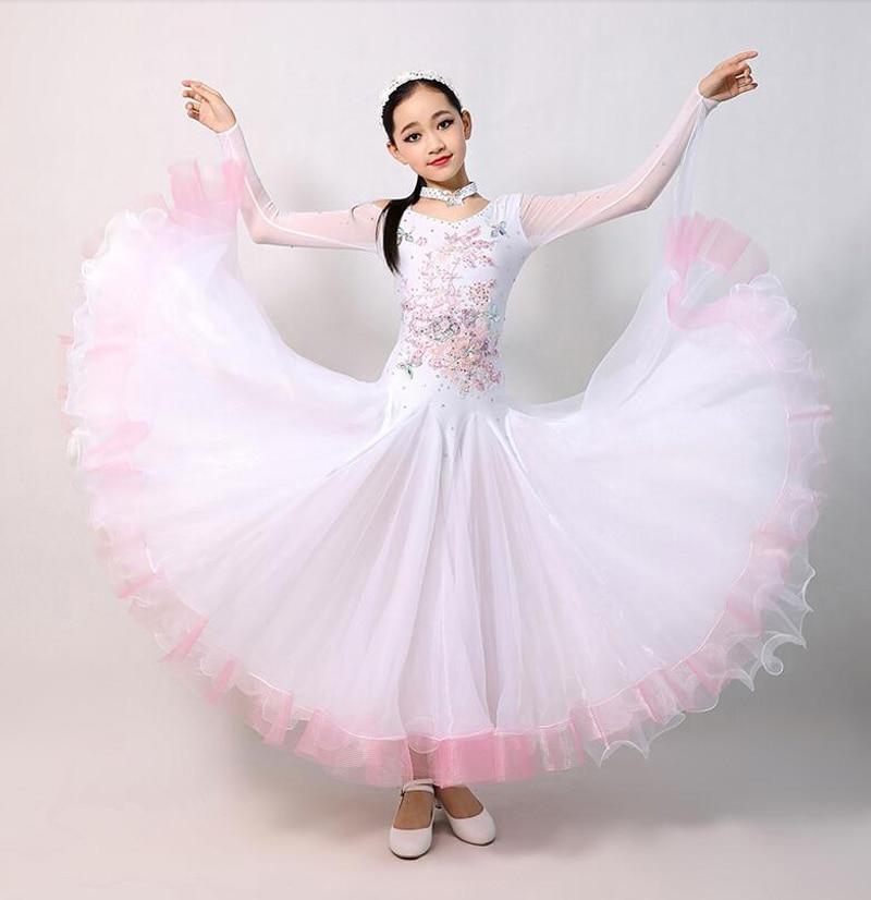 Enfants blanc robes de danse de salon élégant à manches longues valse compétition danse jupe filles Standard robe de danse classique