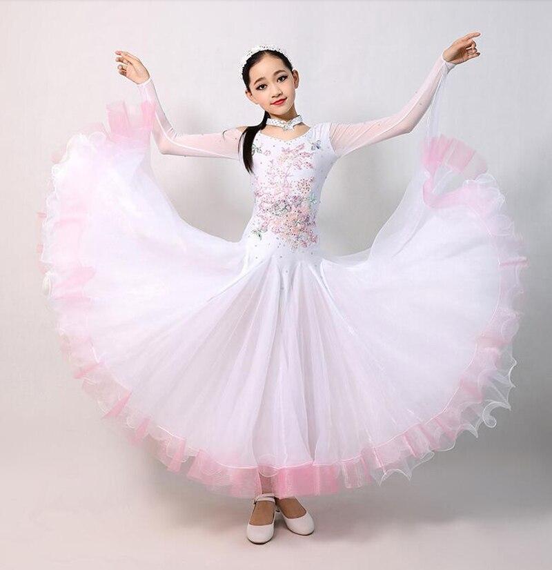Vestidos de baile de salón blancos para niños elegantes vestidos de manga larga para competición de vals falda de baile clásico estándar para niñas