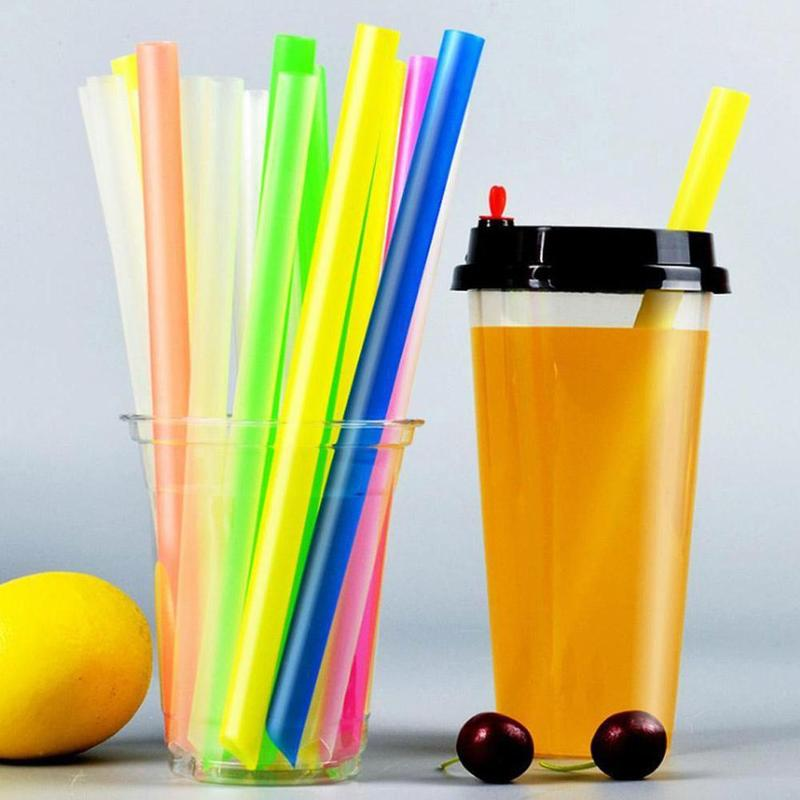100Pcs Straws Plastic Thick For Drinks Colorful Black Drinking Juice Bar Bubble Accessory Disposable Milkshake Cocktail Tube